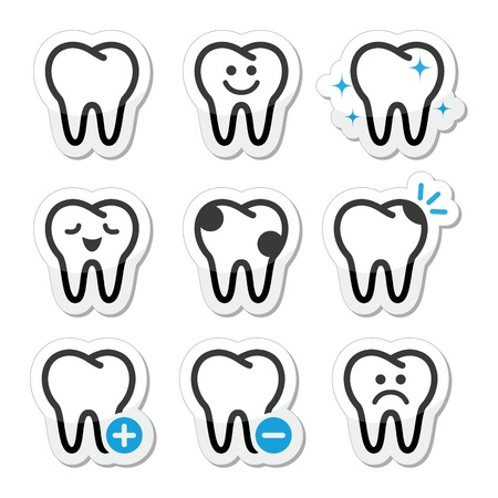 painful: Tand, tanden vector icons set