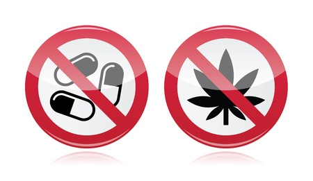 cannabis leaf: Addiction problem - no drugs, no marijuana warning sign
