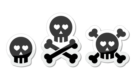Cartoon skull with bones and hearts icon set Vector