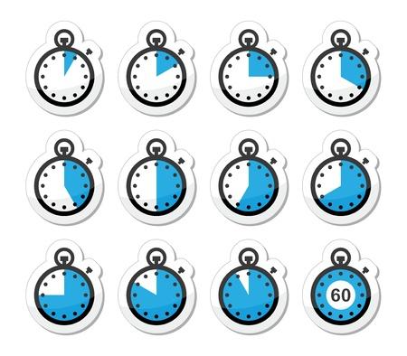 Tijd, klok, stopwatch icons set Vector Illustratie