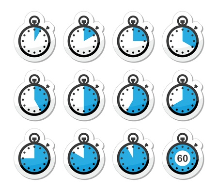 Time, clock, stopwatch icons set Vector
