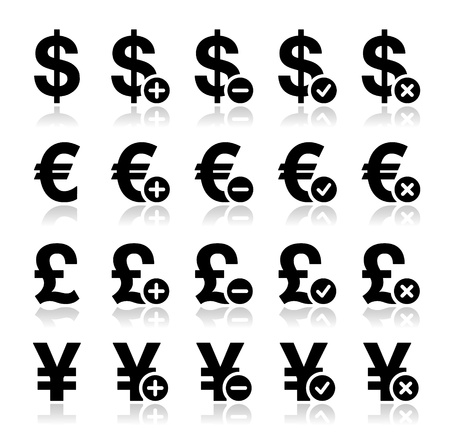 Currency icons set - dollar, euro, yen, pound Stock Vector - 18460255
