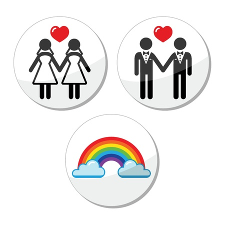 lesbian marriage, rainbow icons set Stock Vector - 18489812