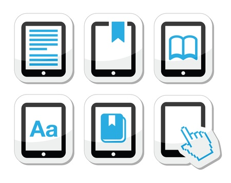 E-book reader, e-reader vector icons set  Vector