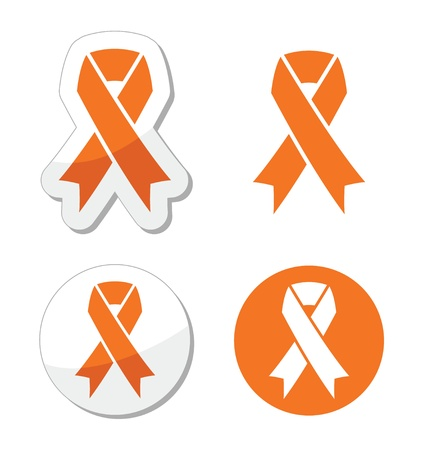 Orange ribbon - leukemia, hunger, humane treatment of animals sign Vector