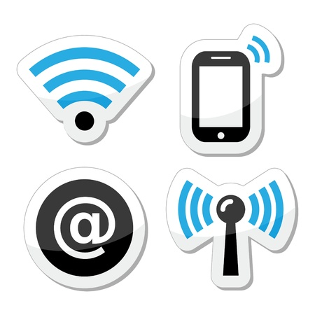 Wifi network, internet zone icons set Stock Vector - 18540371