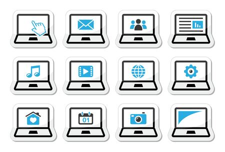 Laptop vector icons set