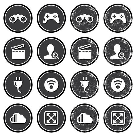 kijker: Web navigatie pictogrammen op retro labels set
