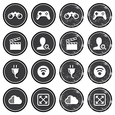 article icon: Web navigation icons on retro labels set
