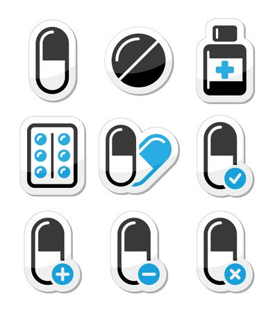 Pills, medication  vector icons set  Vector
