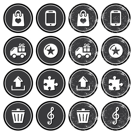 Web navigation icons on retro labels set Stock Vector - 18561925