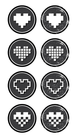 Love pixelated hearts retro labels set - vector Vector