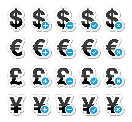share prices: Currency icons set - dollar, euro, yen, pound