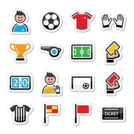soccer: Fútbol iconos vectoriales de fútbol establecido Vectores