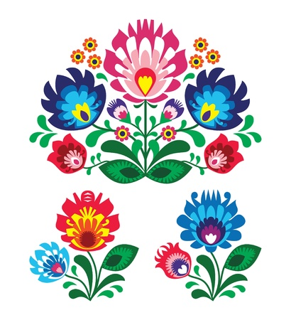 Polish floral folk embroidery pattern Vector