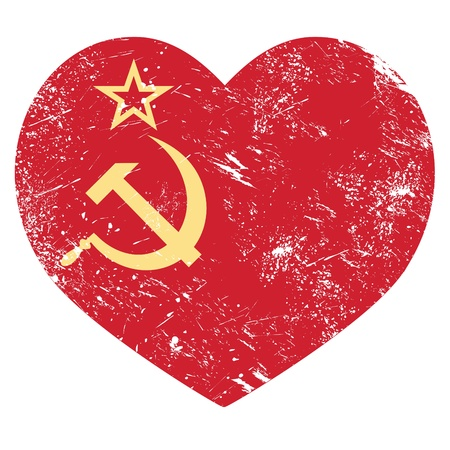 USSR - Soviet union retro heart flag Vector