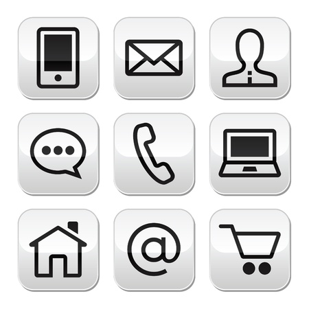 internet symbol: Contact web vector stroke buttons set
