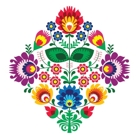 Folk broderie avec des fleurs - modèle traditionnel polonais Vecteurs