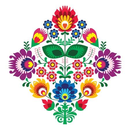 Haft ludowy z kwiatami - tradycyjny polski wzór Ilustracje wektorowe