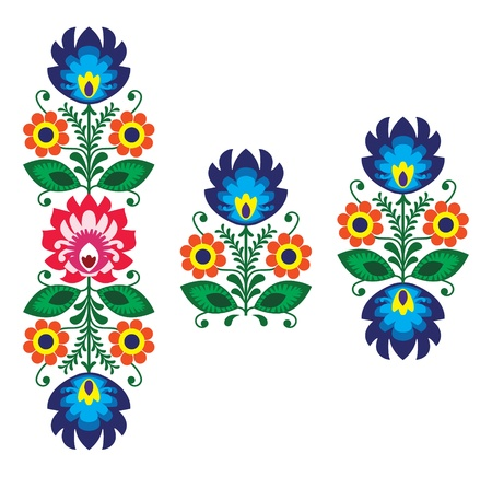 folk: Folk embroidery with flowers - traditional polish pattern