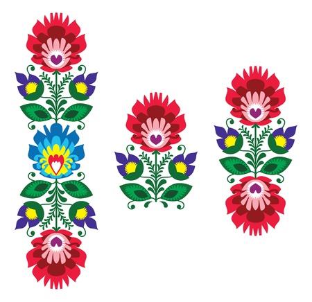 bordados: Bordado Folk - floral patr�n tradicional polaca Vectores