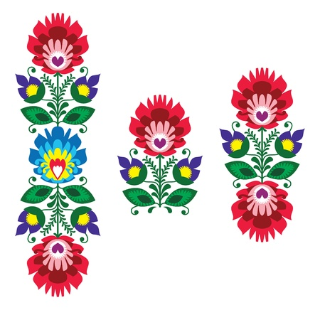 Folk embroidery - floral traditional polish pattern Vector