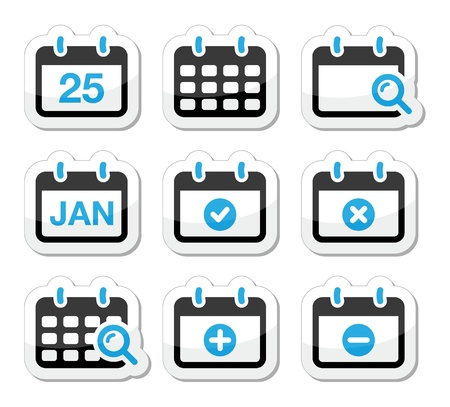 reservation: Calendar date vector icons set