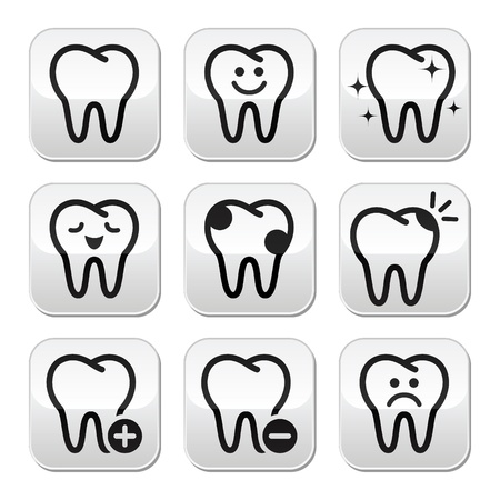 Tooth , teeth vector buttons set  Vector