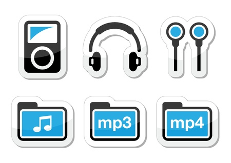 Mp3 player vector icons set Stock Vector - 18622807
