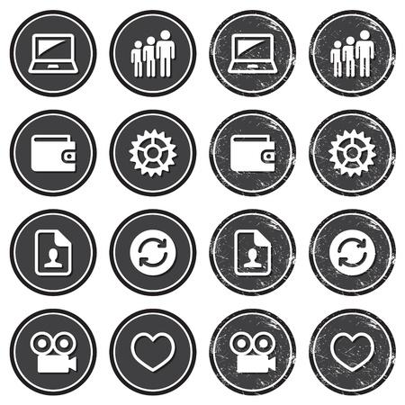 settings: Web navigatie pictogrammen op retro labels set