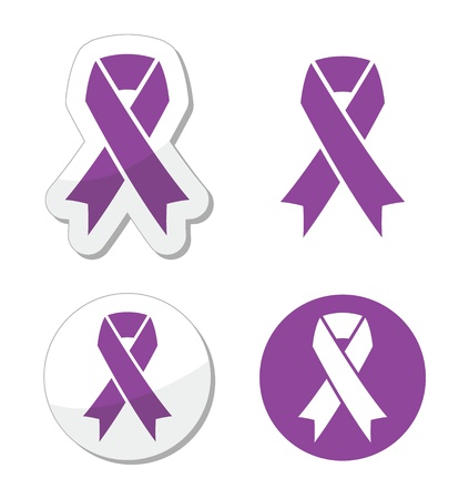 silk ribbon: Purple ribbon - pancreatic cancer, testicular cancer, domestic violence awereness symbol Illustration