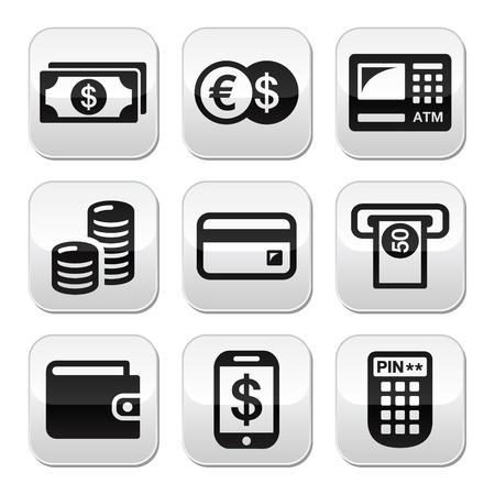 bank overschrijving: Geld, atm - contant mashine knoppen set