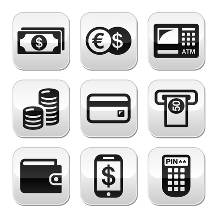 credit card bills: Money, atm - cash mashine buttons set