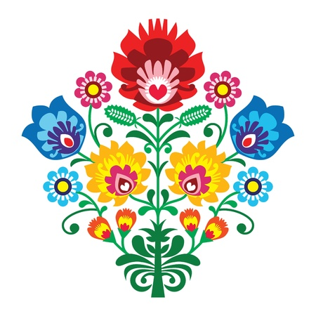 Folk embroidery with flowers - traditional polish pattern Vector