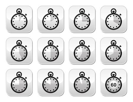 slow food: Tempo, orologio, cronometro pulsanti vector set Vettoriali