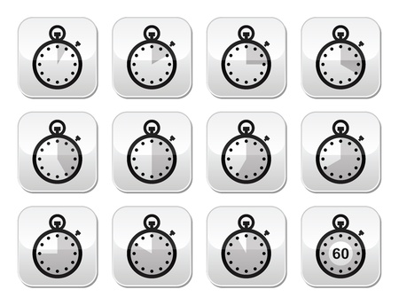 Time, clock, stopwatch vector buttons set Stock Vector - 18714598
