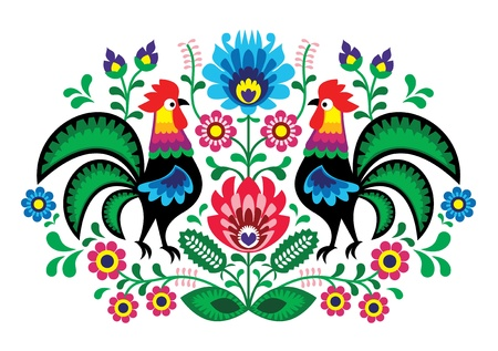 embroidery on fabric: Polish floral embroidery with cocks - traditional folk pattern