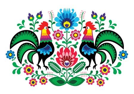Polsko kwiatowy haft z kogutów - tradycyjny wzór folk