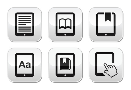 the reader: E-book reader, e-reader vector buttons set