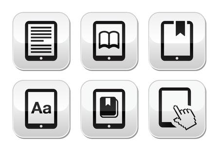 e reader: E-book reader, e-reader vector buttons set
