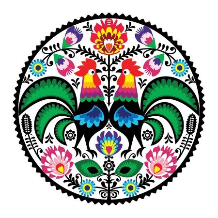 Polsko kwiatowy haft z koguty - tradycyjny wzór folk