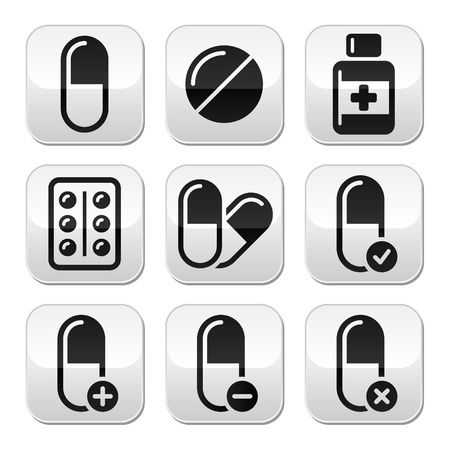 medicine icon: Pills, medication buttons set  Illustration