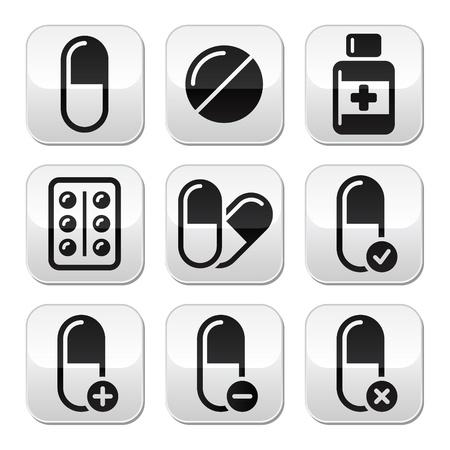painkiller: Pills, medication buttons set  Illustration
