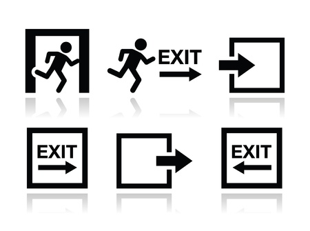 Emergency exit icons vector set Illustration