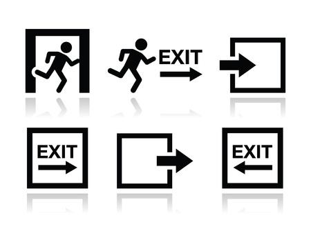 running man: Emergency exit icons vector set Illustration