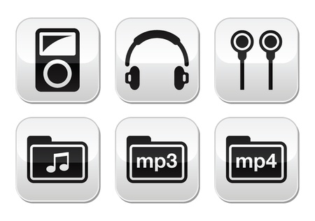 pause button: Mp3 player vector buttons set
