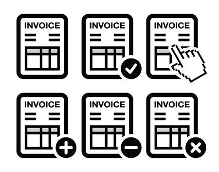 Facture, icônes financement mis en