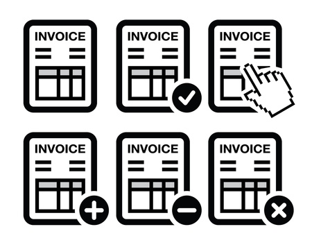invoices: Invoice, finance icons set