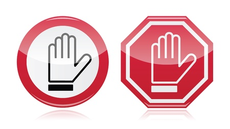 Stop warning road sign with hand  Stock Vector - 18852991