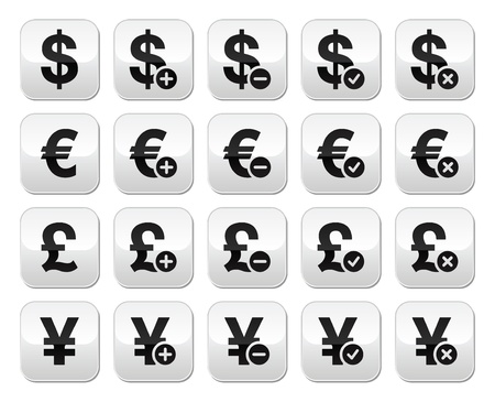 Currency exchange buttons set - dollar, euro, yen, pound Vector